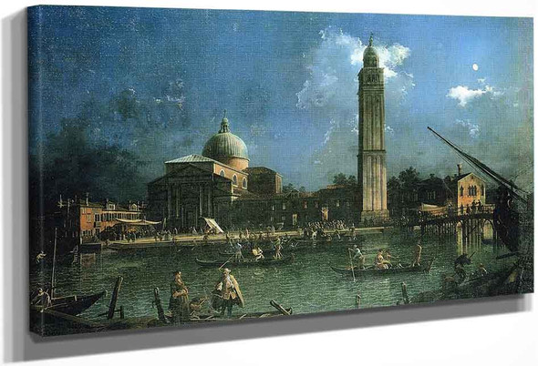 Night Time Celebration Outside The Church Of San Pietro Di Castello By Canaletto By Canaletto