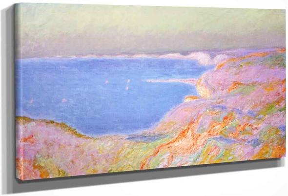 On The Cliffs Near Dieppe, Sunset By Claude Oscar Monet