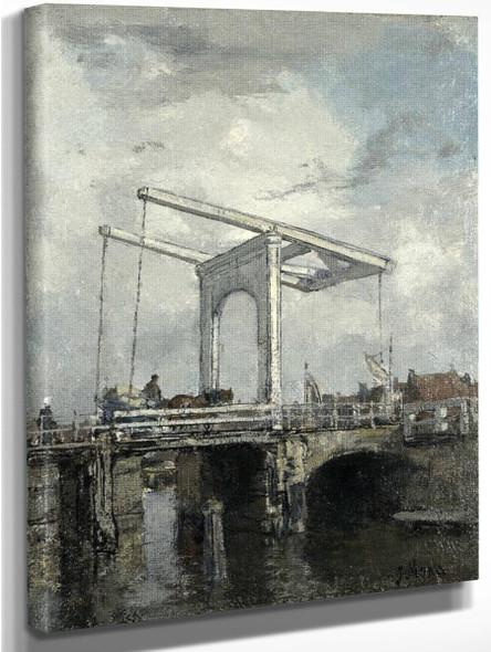 A Drawbridge In A Dutch Town By Jacob Henricus Maris