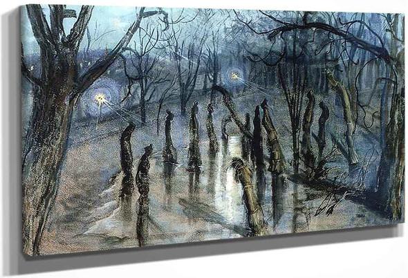 Park At Night By Stanislaw Wyspianski