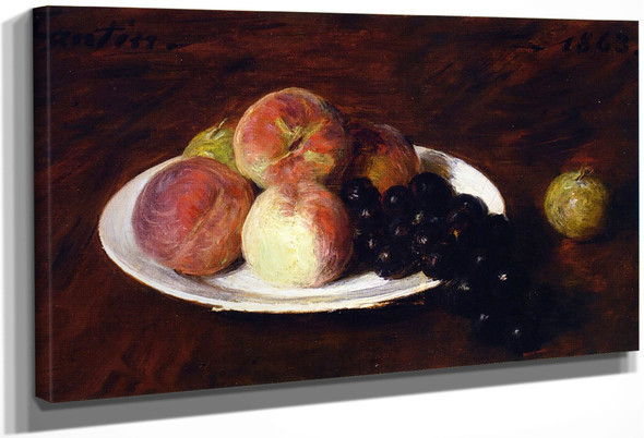 Peaches And Grapes On A White Plate By Henri Fantin Latour By Henri Fantin Latour