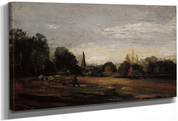 Peasant Working In The Fields By Camille Pissarro