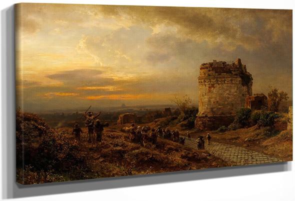 Pilgrims On Via Appia By Oswald Achenbach By Oswald Achenbach