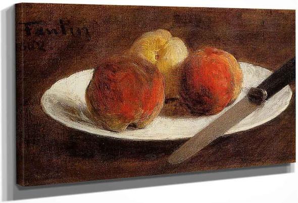 Plate Of Peaches By Henri Fantin Latour By Henri Fantin Latour