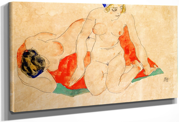 Reclining And Seated Female Nudes On A Red And Green Cloth By Egon Schiele