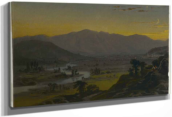 River Valley In The Moonlight By William Trost Richards By William Trost Richards