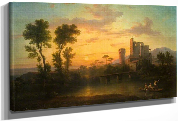 River With Old Ruins, Sunset By Francis Danby