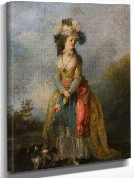 A Lady Walking With A King Charles Spaniel By Jean Frederic Schall