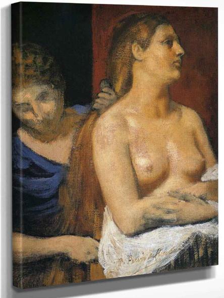 A Maid Combing A Woman's Hair By Pierre Puvis De Chavannes Art Reproduction