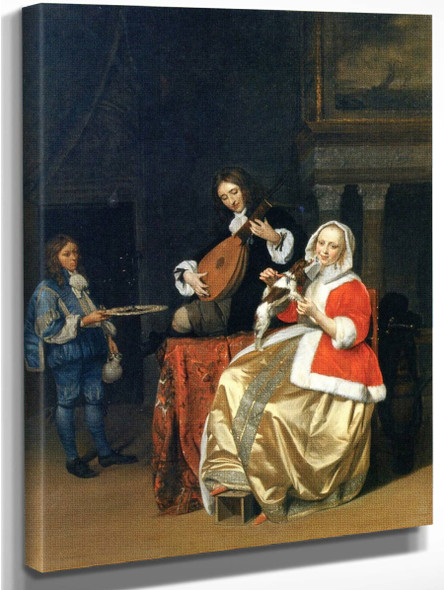 A Man Playing The Lute, A Woman With A Dog, And A Page By Gabriel Metsu