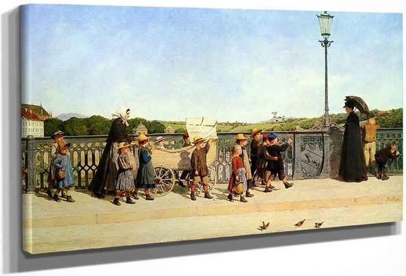 School Children At The Church Bridge By Albert Anker