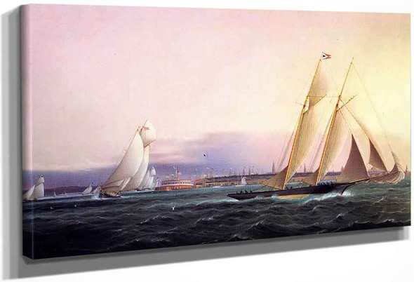 Schooner Resolute Leading The Fleet Around Castle Garden By James E. Buttersworth