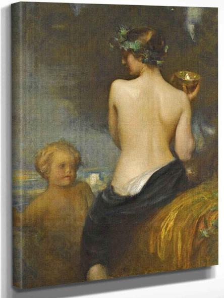 A Nude Bacchante With A Child Faun By Arthur Hacker  By Arthur Hacker