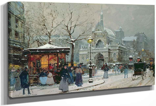Snow Scene In Paris By Eugene Galien Laloue