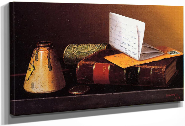 Still Life With Ink Bottle, Book And Letter By William Michael Harnett