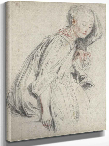 A Seated Young Woman By Jean Antoine Watteau French1684  1721