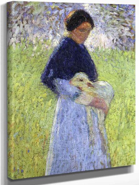 A Shepherdess And Her Sheep By Henri Martin