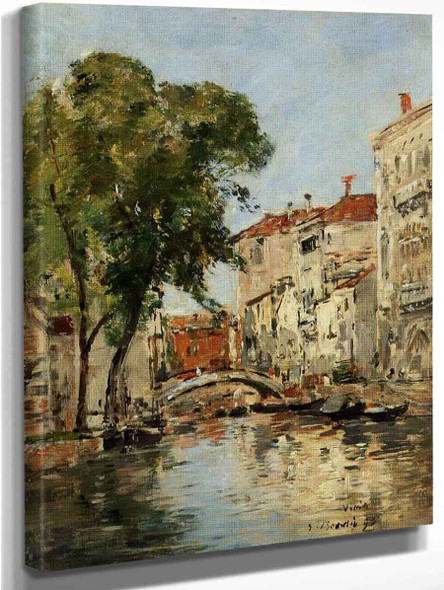 A Small Canal In Venice By Eugene Louis Boudin