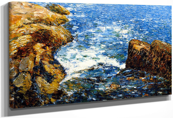 Surf And Rocks By Frederick Childe Hassam