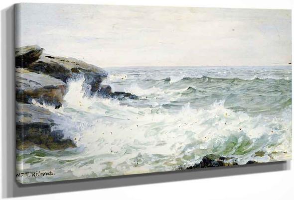 Surf Breaking On Rocks By William Trost Richards By William Trost Richards