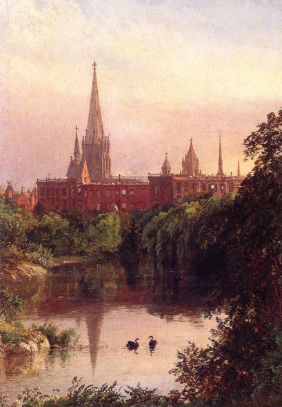 A View In Central Park The Spire Of Dr. Hall's Church In The Distance By Jasper Francis Cropsey By Jasper Francis Cropsey