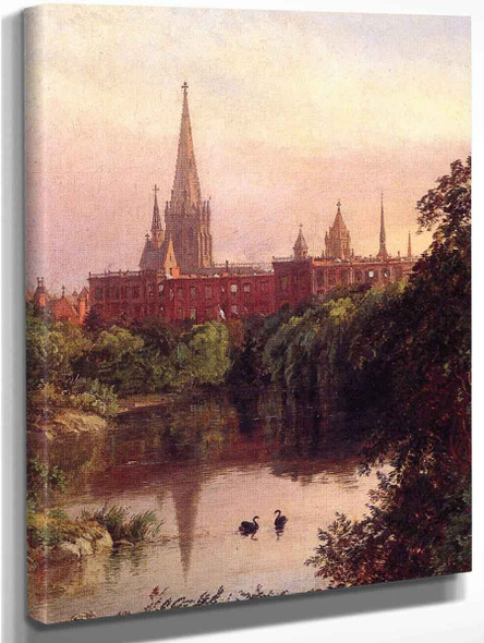 A View In Central Park The Spire Of Dr. Hall's Church In The Distance By Jasper Francis Cropsey Art Reproduction