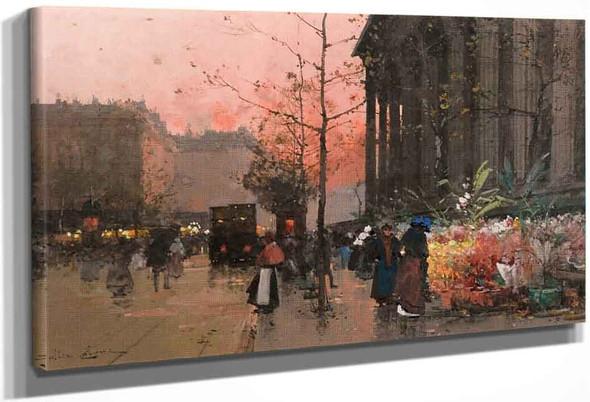 The Flower Market At La Madeleine By Eugene Galien Laloue