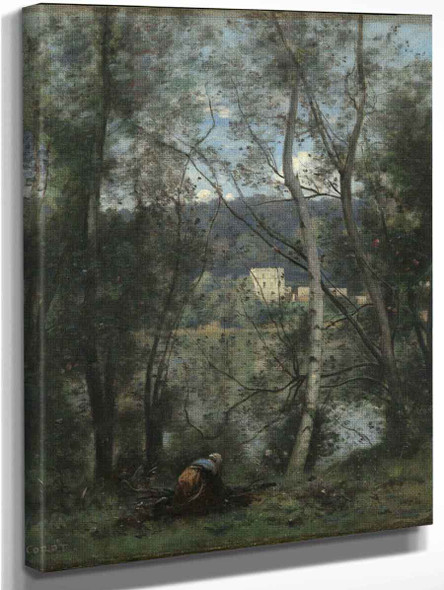 A Woman Gathering Faggots At Ville Davray By Jean Baptiste Camille Corot