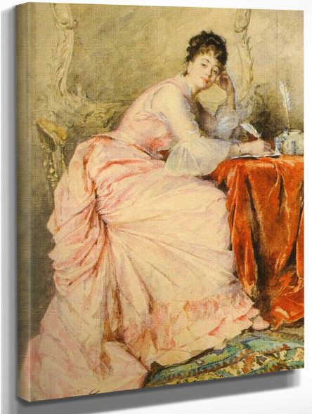 A Young Beauty At A Spinning Wheel 2 By Madeleine Jeanne Lemaire