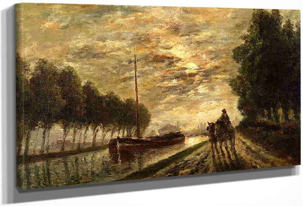 The Ourcq Canal, Towpath, Moonlight By Stanislas Lepine