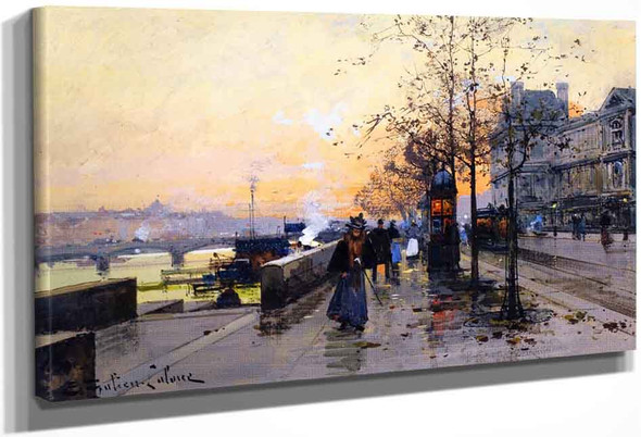 The Quays By Eugene Galien Laloue