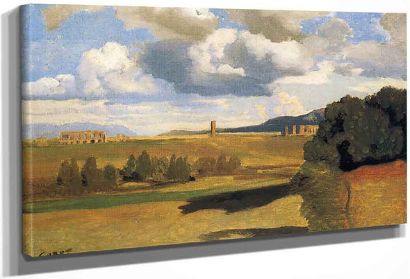 The Roman Campagna With The Claudian Aqueduct By Jean Baptiste Camille Corot