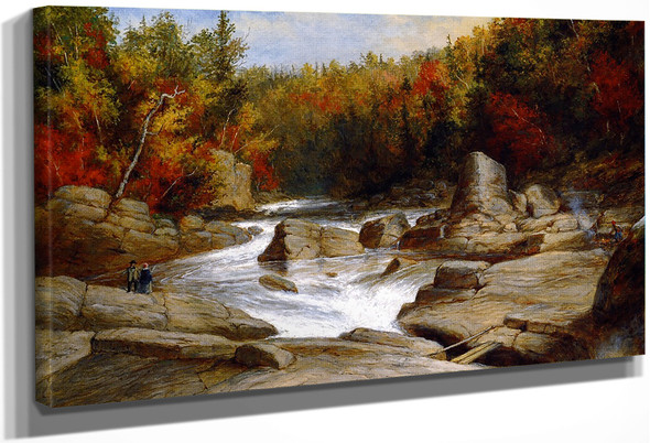The St. Anne Falls Near Quebec, From Above And Looking Upward By Cornelius Krieghoff By Cornelius Krieghoff