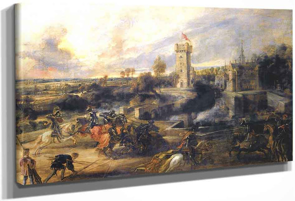 Tournament In Front Of Castle Steen By Peter Paul Rubens