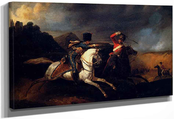 Two Soldiers On Horseback By Horace Vernet
