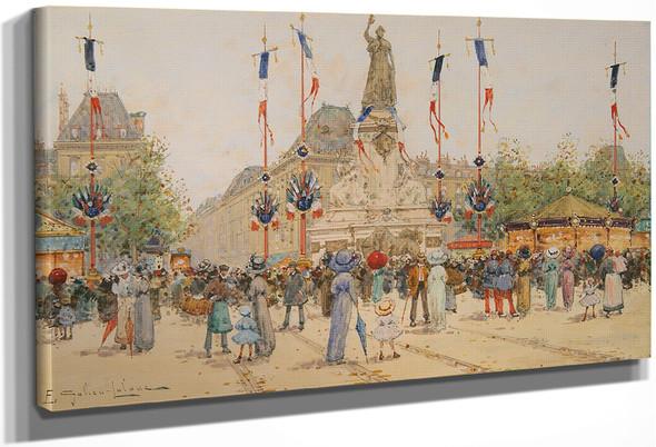 Un 14 Juillet, Place De La Republique By Eugene Galien Laloue