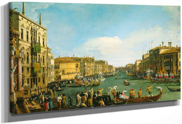 Venice A Regatta On The Grand Canal By Canaletto By Canaletto