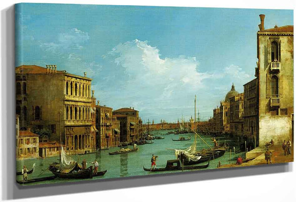 Venice The Grand Canal From Campo S. Vio Towards The Bacino By Canaletto By Canaletto