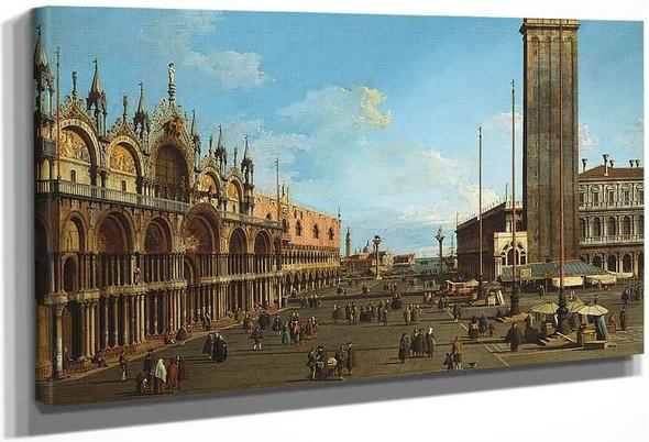 Venice The Piazza And Piazzetta From The Torre Dell Orologio Towards S. Giorgio Maggiore By Canaletto By Canaletto