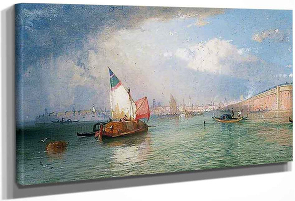 Venice With The Strada Ferrata From The Lagoons By James Baker Pyne