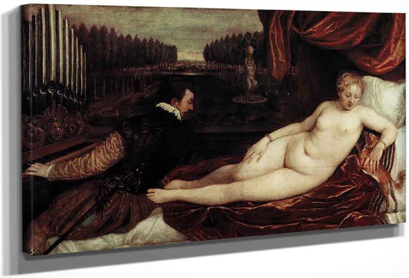 Venus And An Organist And A Little Dog By Titian