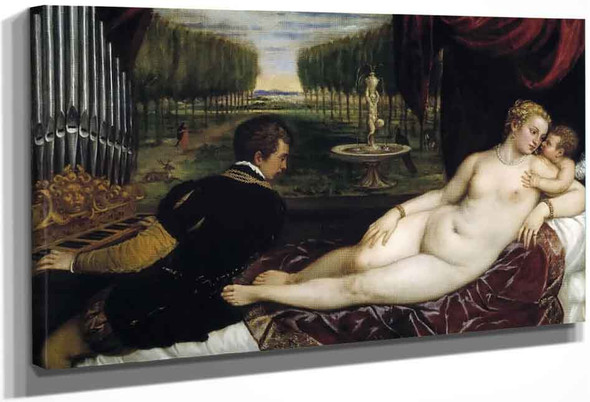 Venus And Cupid With An Organist By Titian