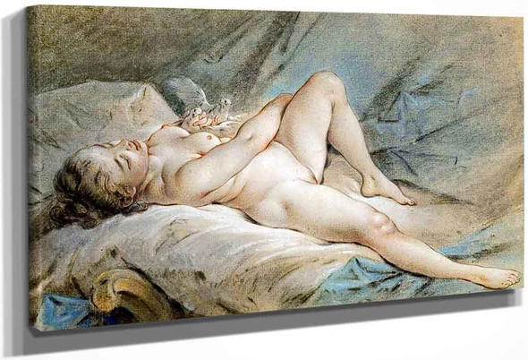 Venus Playing With Two Doves By Francois Boucher