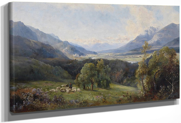 View Of A Valley, A Flock Of Sheep In The Foreground By Emil Barbarini By Emil Barbarini