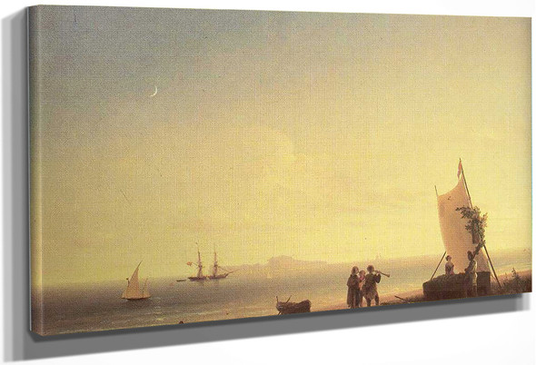 View On The Capri By Ivan Constantinovich Aivazovsky By Ivan Constantinovich Aivazovsky
