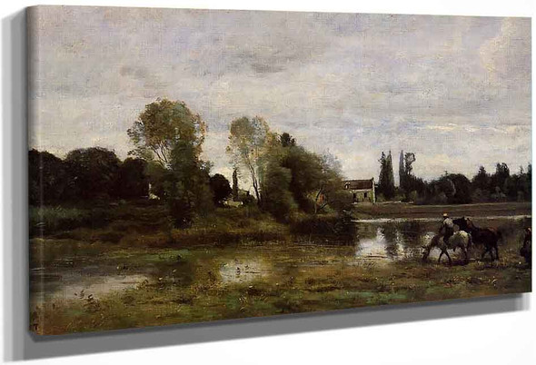 Ville Davray The Horses Watering Place By Jean Baptiste Camille Corot