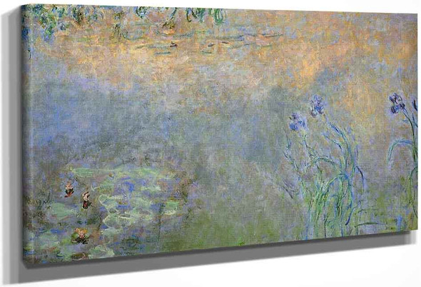 Water Lily Pond With Irises By Claude Oscar Monet