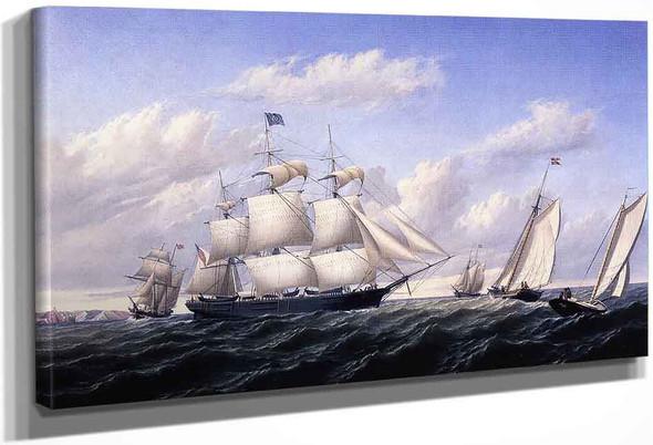 Whaleship 'Speedwell Of Fairhaven, Outward Bound Off Gay Head By William Bradford By William Bradford