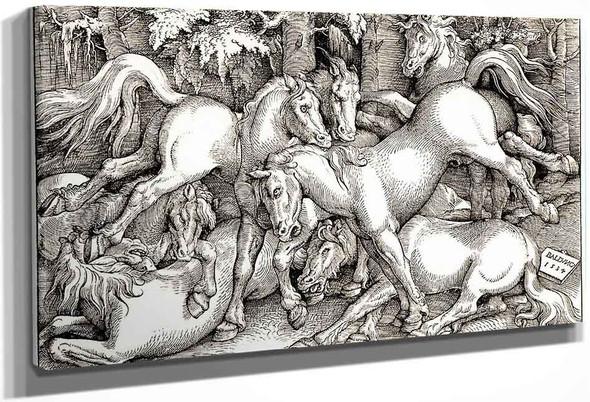 Wild Horses Fighting By Hans Baldung Grien By Hans Baldung Grien