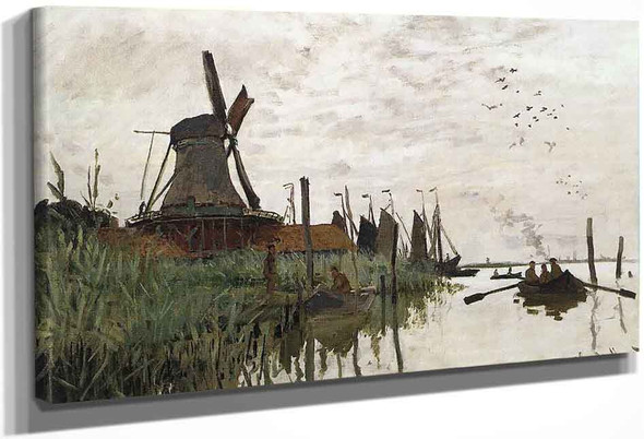 Windmill At Zaandam By Claude Oscar Monet